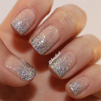 French Tip Silver Glitter Nail Art Desi