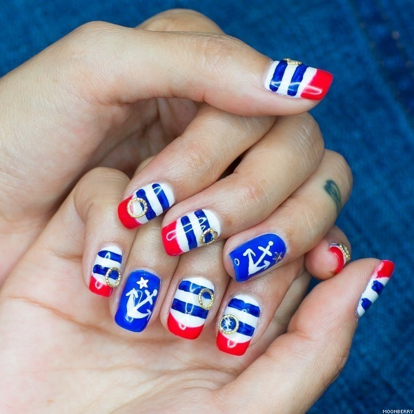 20+ Beautiful Patriotic Nautical Nail Art Ideas - Hati