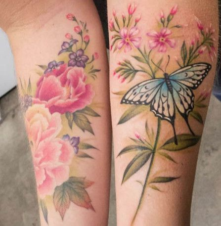 No line tattoos Vintage flower tattoo and Realistic flower tattoo .