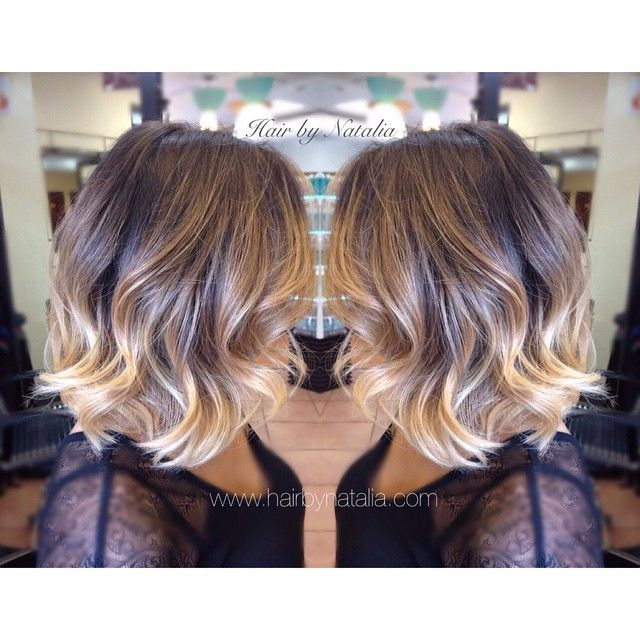 Balayage Short Hair | Balayage Ombré Sombre on short hair .