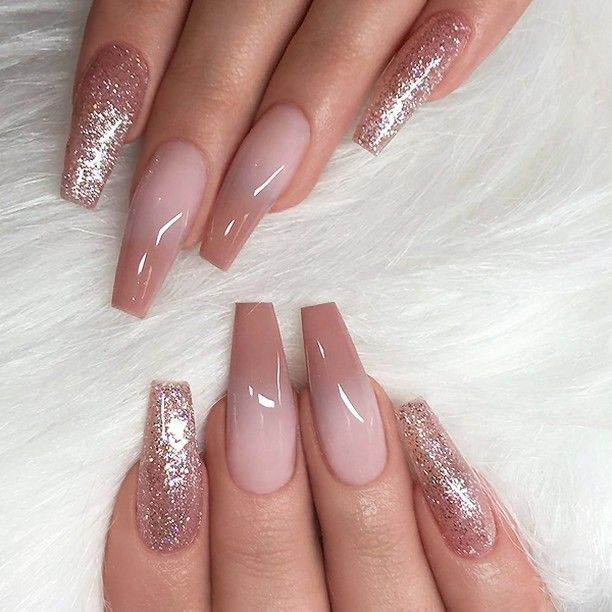 REPOST - - - - Caramel Ombre and Glitter on long Coffin Nails .
