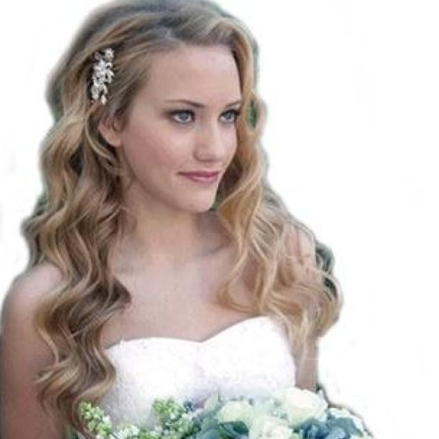 One side pinned back | Wedding hairstyles for long hair, Wavy .