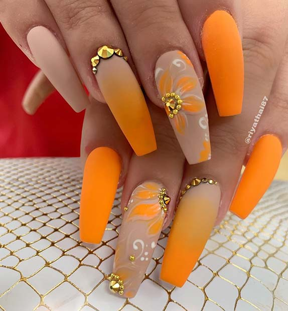 23 of the Best Orange Nail Art Ideas and Designs | StayGl
