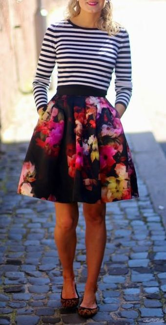 20 Outfit Ideas to Make a Pretty Look for Fall | Floral skirt .
