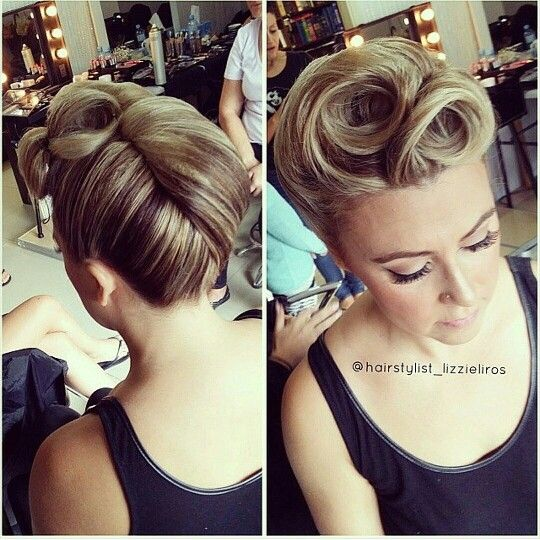 French roll pinup hairstyle- Lizzie Liros | Wedding hair up, Up .