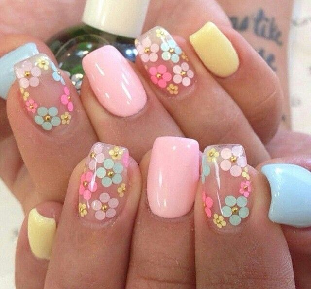 Playful spring nails | Spring nail art, Flower nails, Floral nai