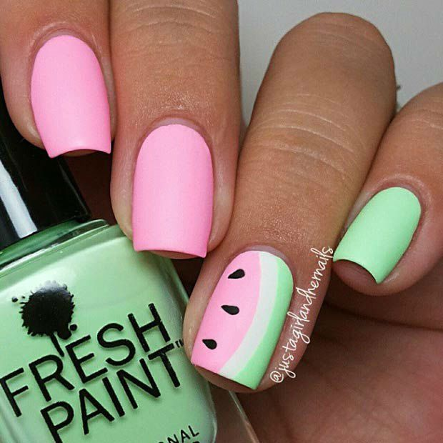 42 Playful Nail Art Designs for Summer | Watermelon nails, Nail .