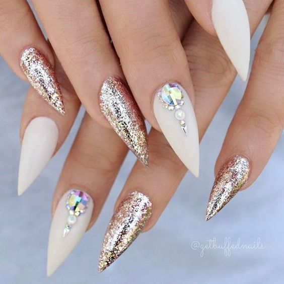38 Classy Acrylic Stiletto Nails Designs for Summer 2019 | White .
