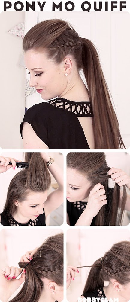 Hair Tutorials - Mowhawk Quiff Ponytail for Summer - Hairstyles Week