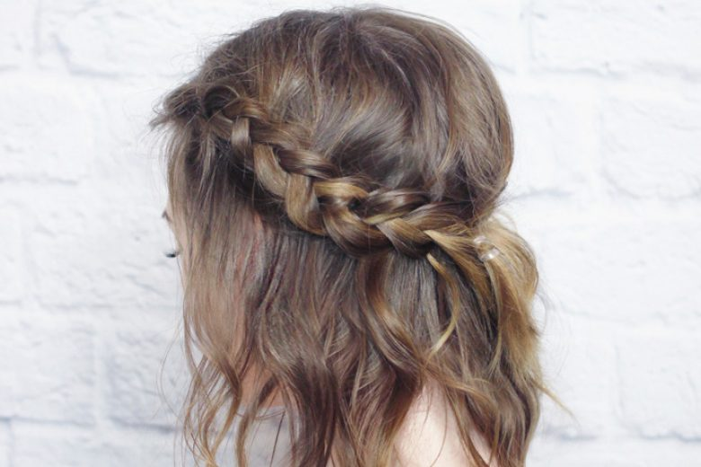 Messy Braided Crown for Shorter Hair Tutorial - Wonder Fore