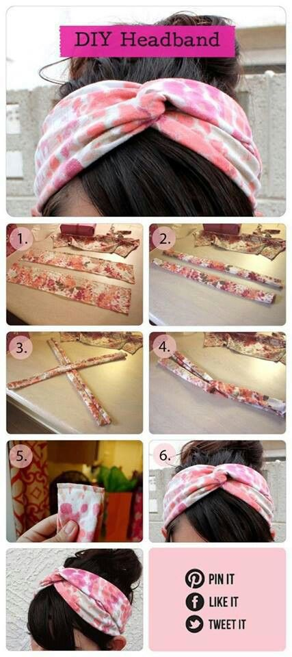 Cute no-sew headbands. Use an old t shirt or scrap jersey fabric .