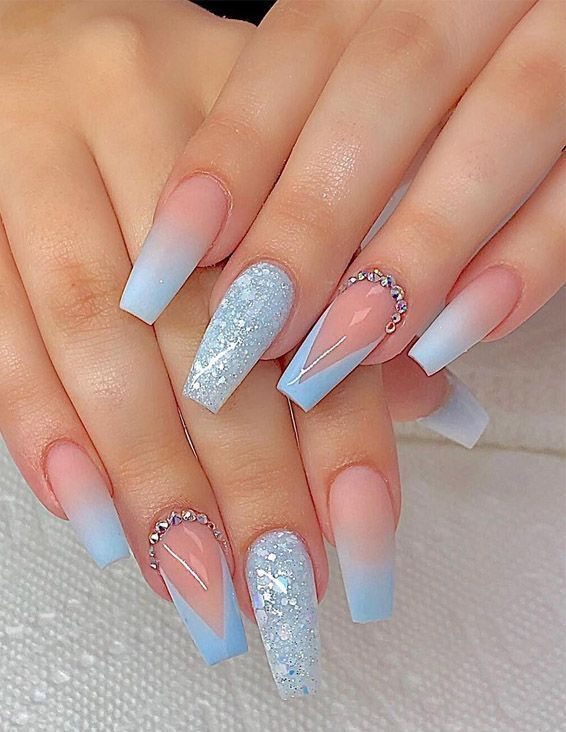 Beautiful Nail Art Ideas & Designs for 2019 | Blue acrylic nails .