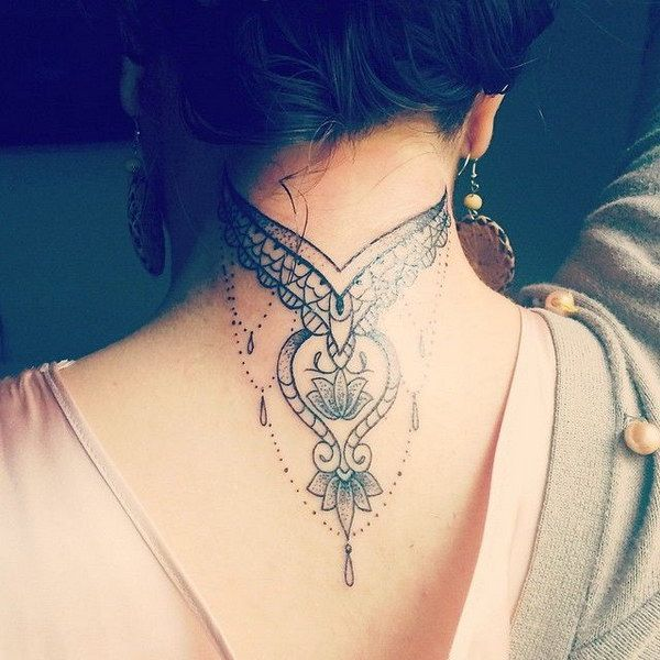Soft and Delicate Back of the Neck Tattoo Design | Back of neck .