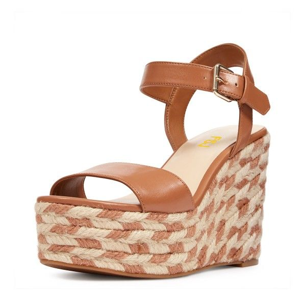 Tan Wedge Sandals Summer Platform Sandals For Women For Party .