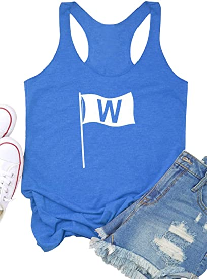 Womens Win Flag Graphic Racerback Tank Tops Funny Chicago .