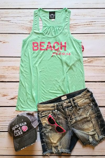 OOTD-summer fashion, racerback tank top, graphic tank top, beach .