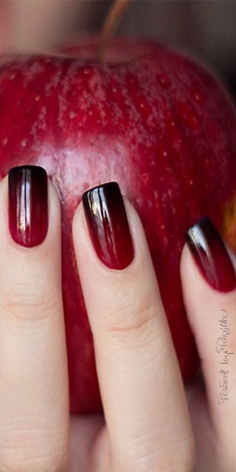 red to black ombre nails | Nail art ombre, Red nails, Ombre nai