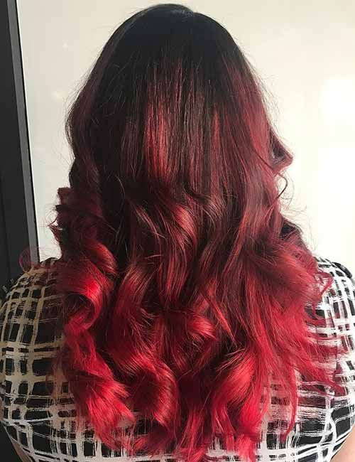 Hair Color Trends for 2018: Red Ombre Hairstyles | Red blonde hair .