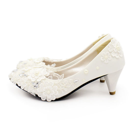 China White High Heels Romantic Pearl Lace Bridal Shoes Wedding .