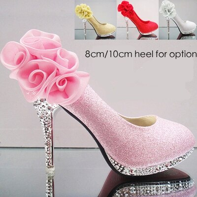 Wedding high heeled flower decorated romantic crystal shoes bridal .