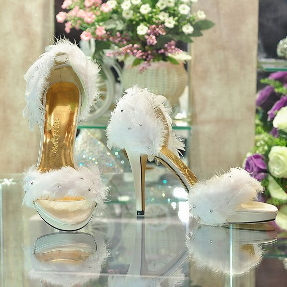 Handmade White Feather Sandals Summer Wedding Shoes Romantic High .