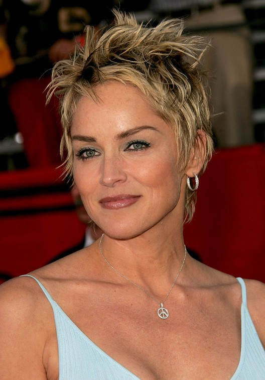 Trendy Tousled Short Punky-Pixie Cut for Women: Sharon Stone .