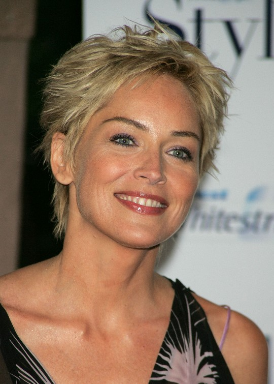 Short Pixie Cut for Women Over 50 - Sharon Stone Hair Style .