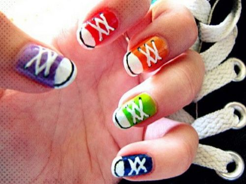 cool-nail-shoes-design-ideas | Sneaker nails, Converse nails .
