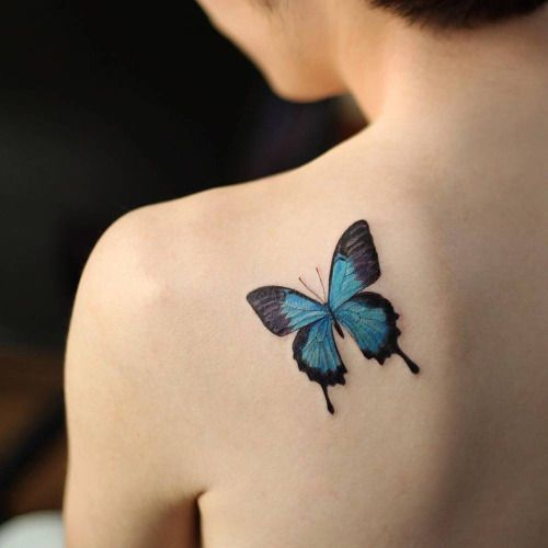 Small blue butterfly tattoo on the left shoulder blade. Tattoo .