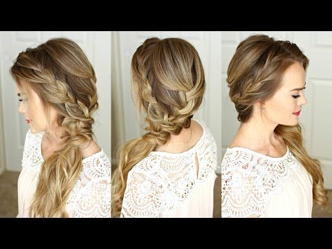 Braided Side Swept Prom Hairstyle | Missy Sue - YouTube | Wedding .
