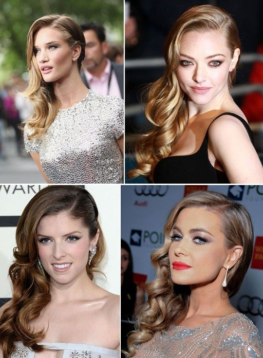 A Sweeping Style Statement with Side-Swept Curls | Side hairstyles .