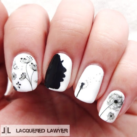 Cute And Easy Black & White DIY Dandelion Nail Art - Styleohol