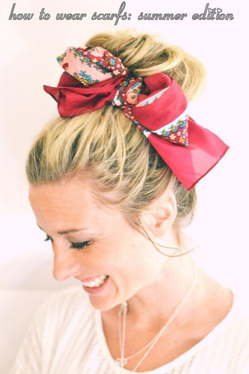 Spice up Your Buns with a Scarf | Scarf hairstyles, Hair beauty .
