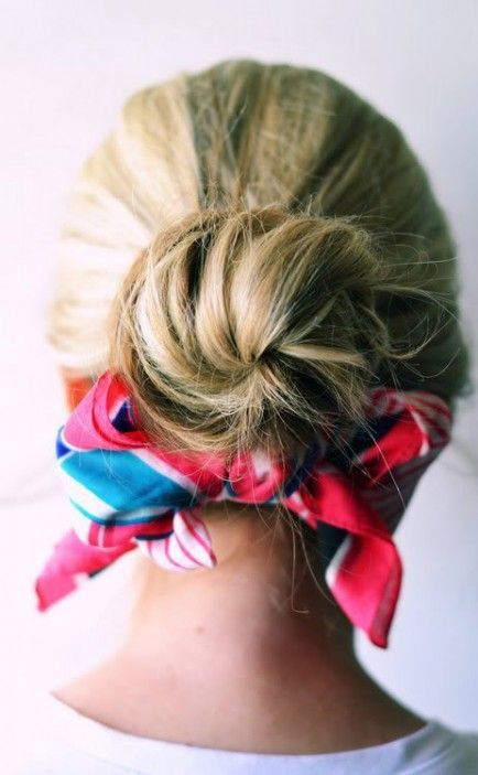 Spice up Your Buns with a Scarf | Scarf hairstyles, Pretty .