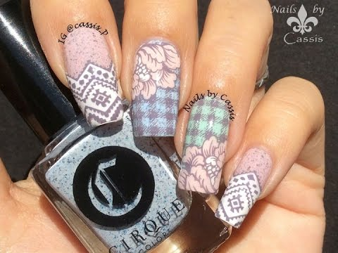 Delicate Plaid & Flower Stamping Nail Art - YouTu