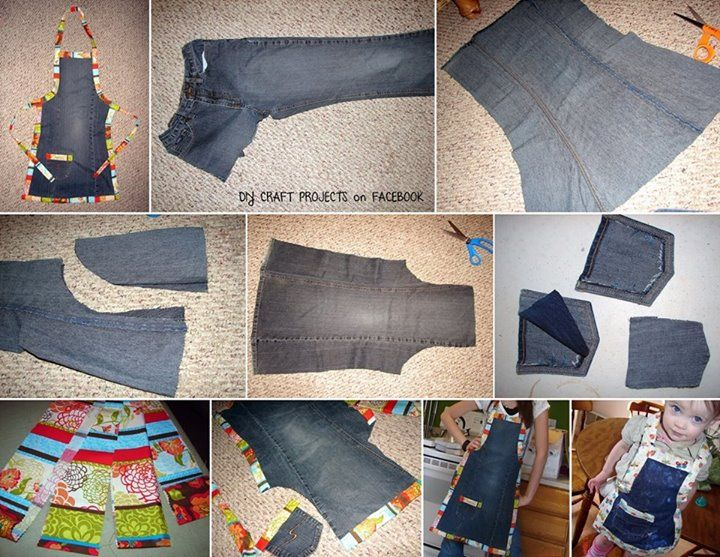 Old Jeans Up-cycled Into An Apron | Old jeans, Denim crafts, Jean .