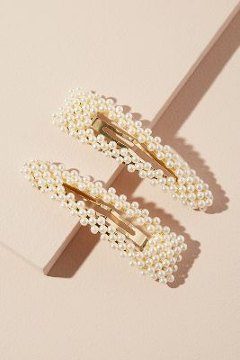 Set of Two Faux Pearl-Embellished Hair Clips | Wedding guest .