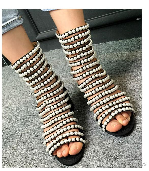 Retro Stylish T Heels Gladiator Sandals Women String Bead With .