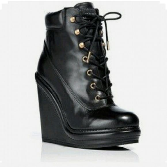 MARC BY MARC JACOBS ? Black Lace Up Wedge Stylish lace up bootie .