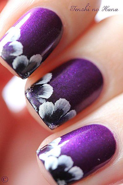 Stylish Nails to Pair Your Black and White Outfit … | Purple nail .