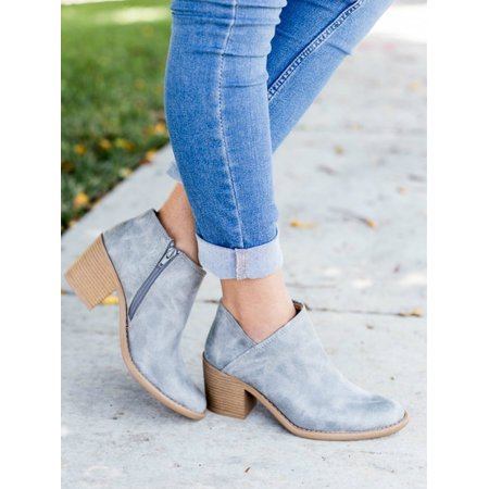 SySea - Women Suede Ankle Boots Casual Spring Summer Zipper Round .