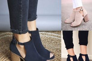 Plus Size 36-43 Women Spring Summer Open Toe Suede Ankle Boots .