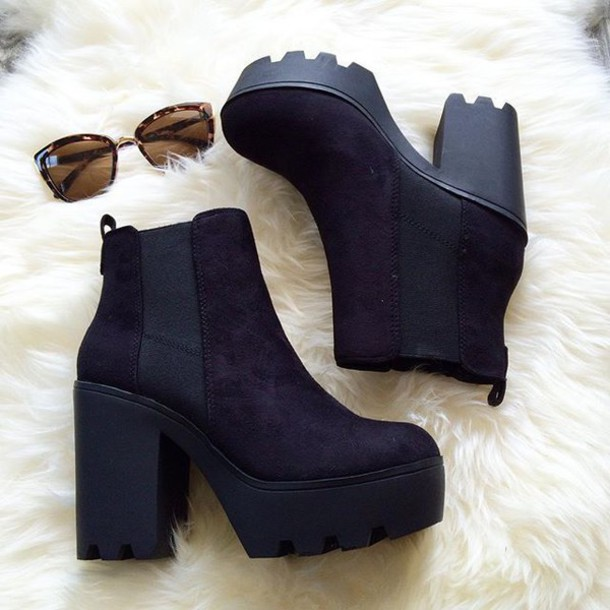 shoes, belle xo, boots, booties, heel, wedges, black, thick heel .