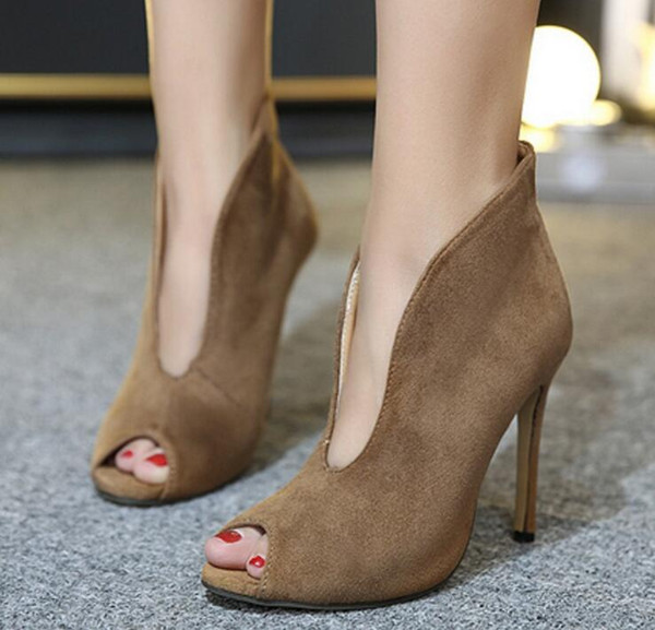Fashion Women Spring Summer Open Toe Boots Casual Faux Suede Ankle .