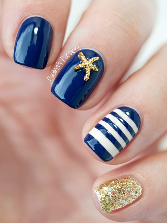Sailor Nails with Starfish Stud (With images) | Sailor nails .