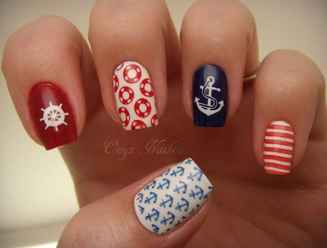 Pretty Nautical Nails | Süße nageldesigns, Süße nägel, Rose näg