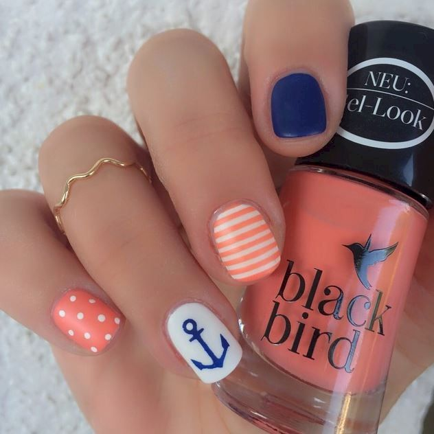 Super Cute Ideas for Summer Nail Art | Nautical nails, Beach nails .