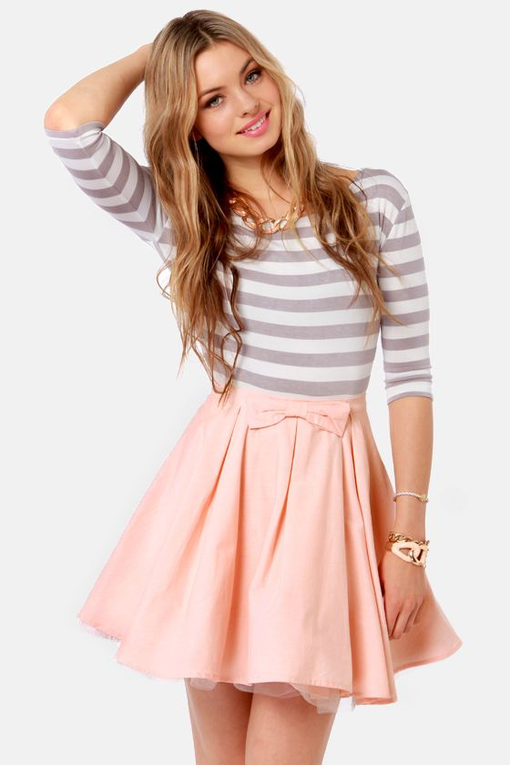The Going Gets Puffed Peach Mini Skirt | Cute fashion, Cute .
