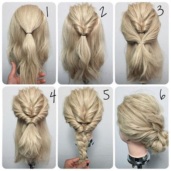 10 Super Easy Hairstyles You Can Actually Do | Up dos for medium .