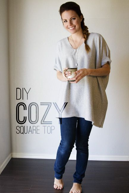 Make a DIY Cozy Square Top in Less Than 30 Minutes! | Diy clothes .